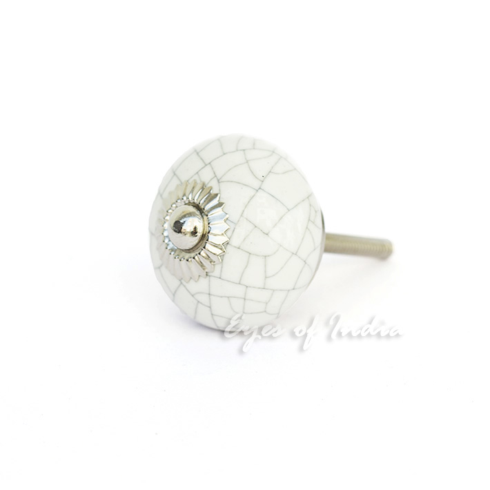 White cracked decorative ceramic cabinet dresser cupboard for Painted ceramic cabinet knobs