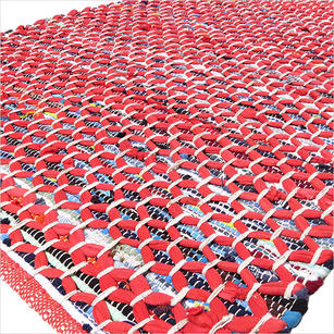 Red Colorful Chindi Woven Rag Rug - 3 X 5'