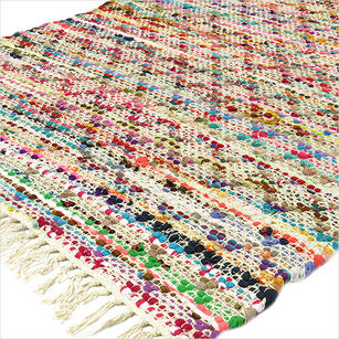 White Multicolor Chindi Woven Rag Rug - 3 X 5'