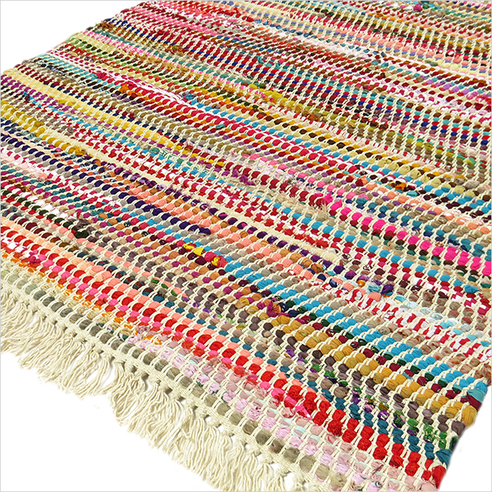Rag Rug Prices: 3 X 5 Ft MULTICOLOR COLORFUL CHINDI WOVEN RAG RUG Indian