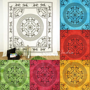 Lizard Mandala Tapestry Bedspread Wall Hanging with Fringes - Queen/Double
