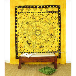Mandala Zodiac Horoscope Tapestry Wall Hanging Bedspread with Fringes - Queen/Double