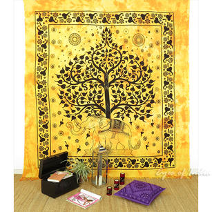 Elephant Tree of Life Tapestry Wall Hanging Bedspread with Fringes - Queen/Double