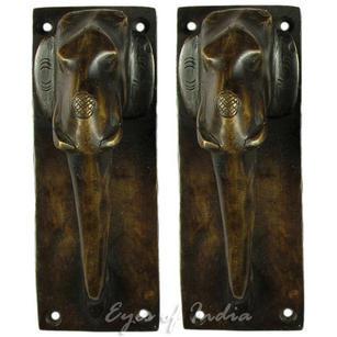"""Pair of Brass Elephant Cabinet Pulls Door Handles - 7"""""""