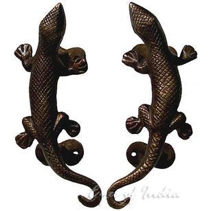"""Pair of Brass Lizard Door Handles Cabinet Pulls - 5"""""""