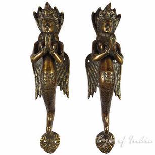 """Pair of Brass Naga Serpent Cabinet Pulls Door Handles - 12"""""""