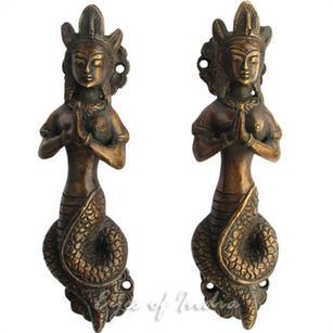 """Pair of Brass Naga Serpent Cabinet Pulls Door Handles - 7"""""""
