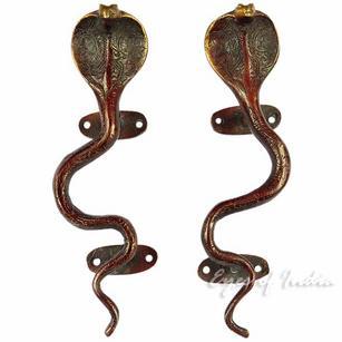"""Pair of Brass Snake Cobra Door Handles Cabinet Pulls - 9"""""""