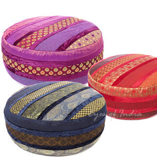 """Large Brocade and Velvet Round Pouf Ottoman Cover - 24 X 10"""""""