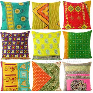Colorful Kantha Decorative Throw Pillow Cushion Cover - 16 X 16""
