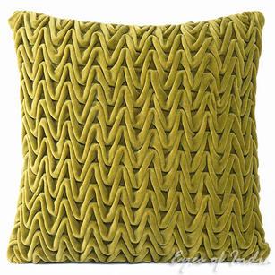 "Velvet Zig Zag Braided Decorative Pillow Cushion Cover - 16 X 16"""