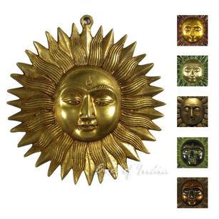 """Sun Sculpture Metal Brass Wall Art Hanging - 6"""""""