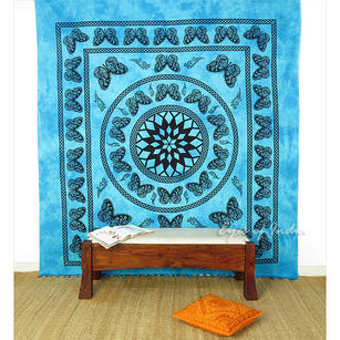 Butterfly Mandala Tapestry Wall Hanging Bedspread with Fringes - Queen/Double