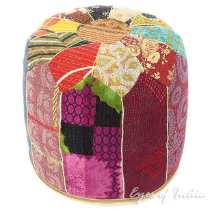 Small Kantha Embroidered Ottoman Pouf Cover Round - 10 X 16""