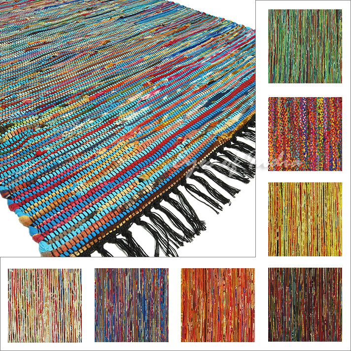 3 X 5 Ft Colorful Multicolor Boho Chindi Woven Area Rag