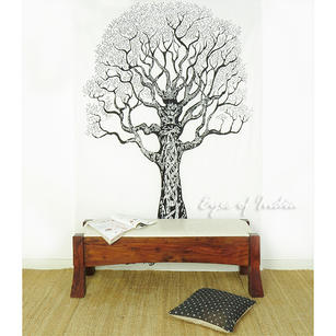 White Tree of Life Tapestry Bedspread Wall Hanging - Twin/Single