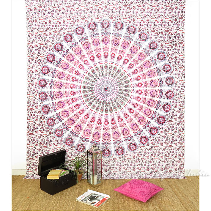 Pink Wall Tapestry queen white pink elephant hippie mandala tapestry hanging picnic