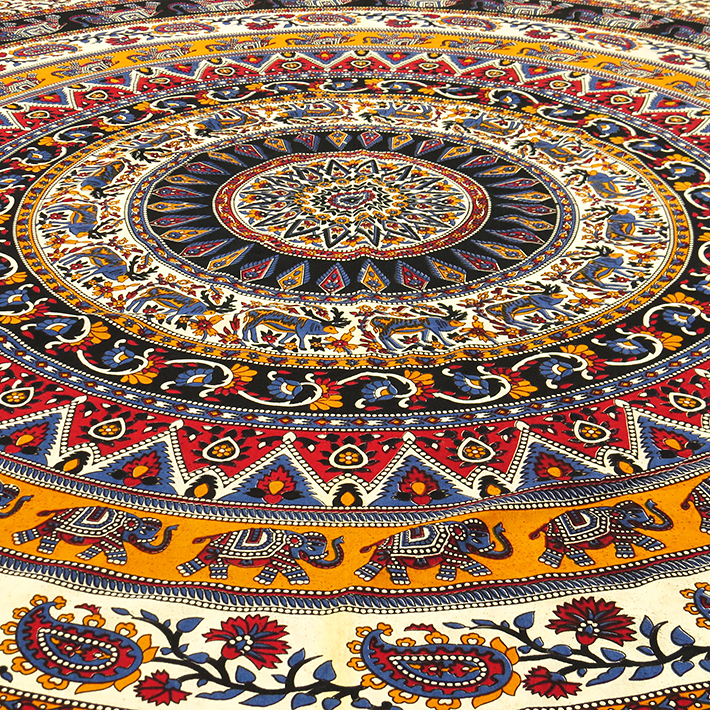 Double noir indian l phant mandala tapisserie tenture for Decoration murale mandala