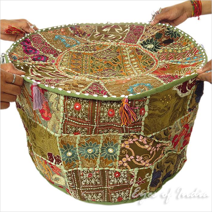 olive patchwork rund ottomane sitzkissen deckel boden sitz boho ebay. Black Bedroom Furniture Sets. Home Design Ideas