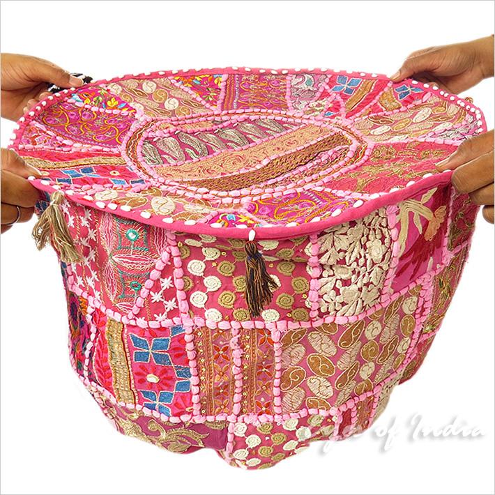 55cm rosa rund hocker stickerei ottoman b misch ethnisch indisch dekoration ebay - Etnische pouf ...