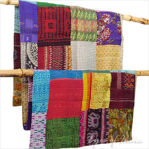 Colorful Vintage Silk Kantha Reversible Quilt Tapestry Throw