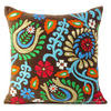 Suzani Embroidered Velvet Decorative Pillow Cushion Cover - 16 X 16""