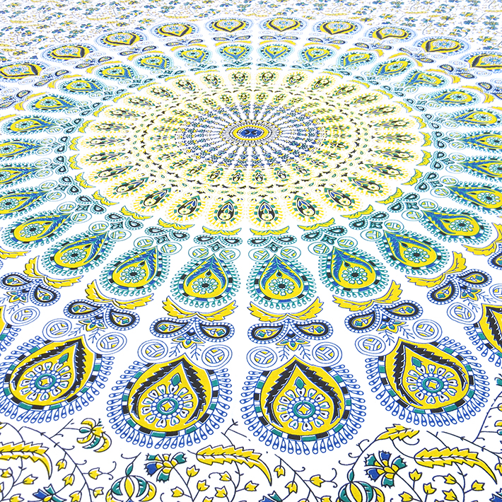 einzelbett gelb weiss indian hippie mandala wandbehang. Black Bedroom Furniture Sets. Home Design Ideas