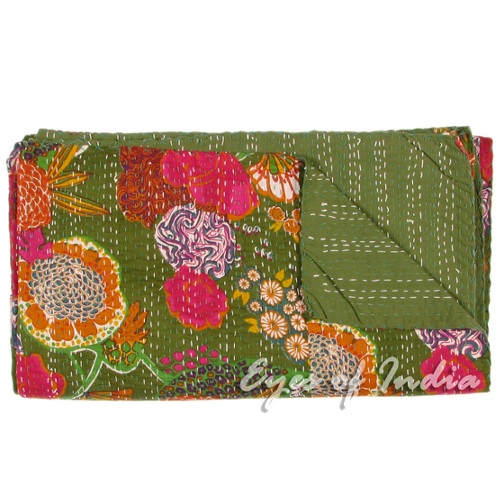GREEN INDIAN TWIN KANTHA QUILT BEDSPREAD BLANKET THROW Flowers Ethnic Decor Art