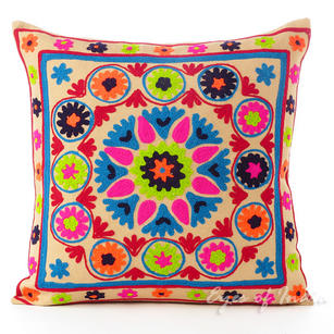 """Tan Beige Embroidered Decorative Pillow Cushion Cover - 16 X 16"""""""