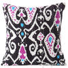 Black Ikat Kantha Decorative Throw Pillow Cushion Cover - 16 X 16""