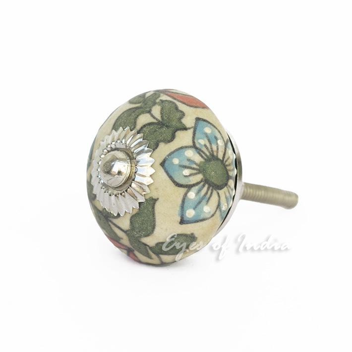 Green blue decorative ceramic dresser door cupboard for Painted ceramic cabinet knobs