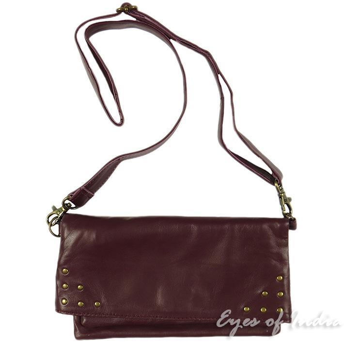 burgundy leather belt hip waist bum bag pouch