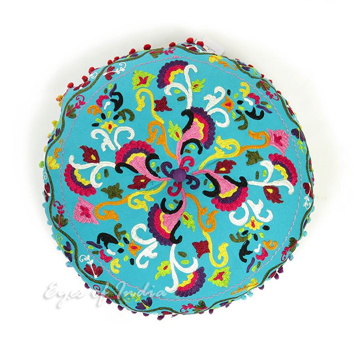Round Floor Pillow Blue : Light Blue Round Embroidered Decorative Floor Cushion Pillow Cover - 24