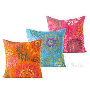 """Kantha Throw Pillow Cushion Decorative Cover - 16 X 16"""""""