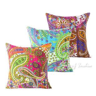"Paisley Kantha Decorative Pillow Cushion Cover - 16 X 16"""