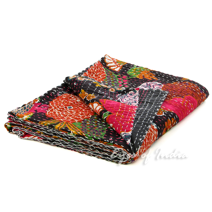 BLACK INDIAN FLORAL COTTON BEDSPREAD THROW Decorative Vintage Ethnic Decor Art