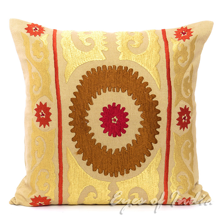 Light Brown Suzani Embroidered Cushion Decorative Pillow Cover - 16 X 16