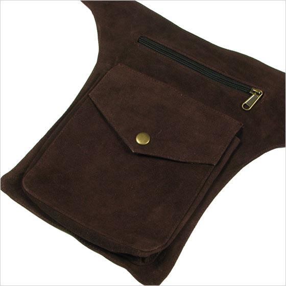 brown leather belt bag pouch pocket waist hip pack