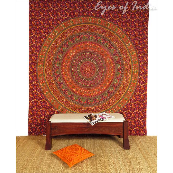 K nigin weinrot rot indische elefanten mandala wandbehang for Lesesessel rot