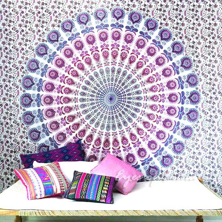 k nigin wei pink hippie indischer wandteppich mandala wandbehang picknick. Black Bedroom Furniture Sets. Home Design Ideas