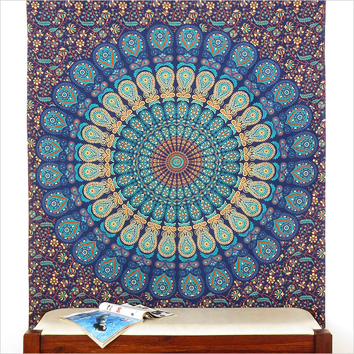 simple bleu tapisserie de mandala indien hippie couvre lit plage boh me ebay. Black Bedroom Furniture Sets. Home Design Ideas