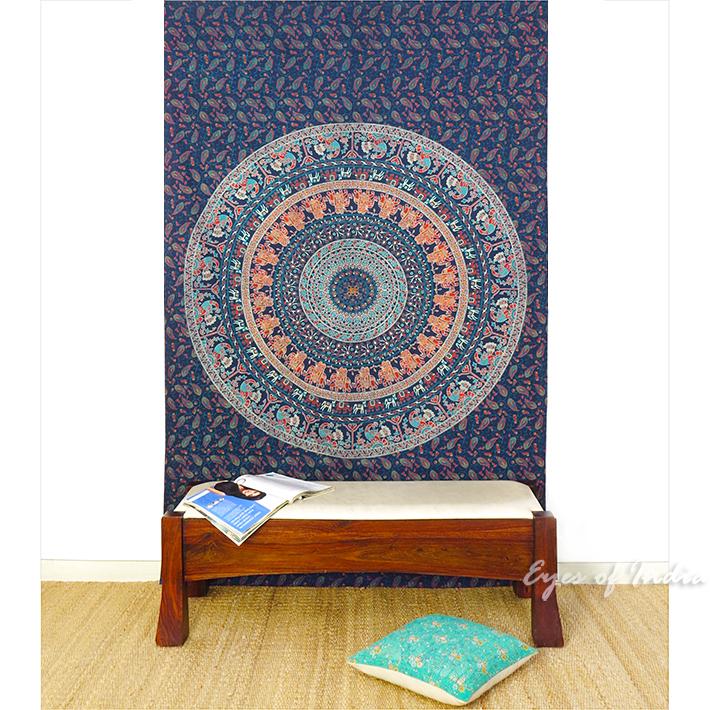 blau einzelbett hippie indische mandala wandbehang wand. Black Bedroom Furniture Sets. Home Design Ideas