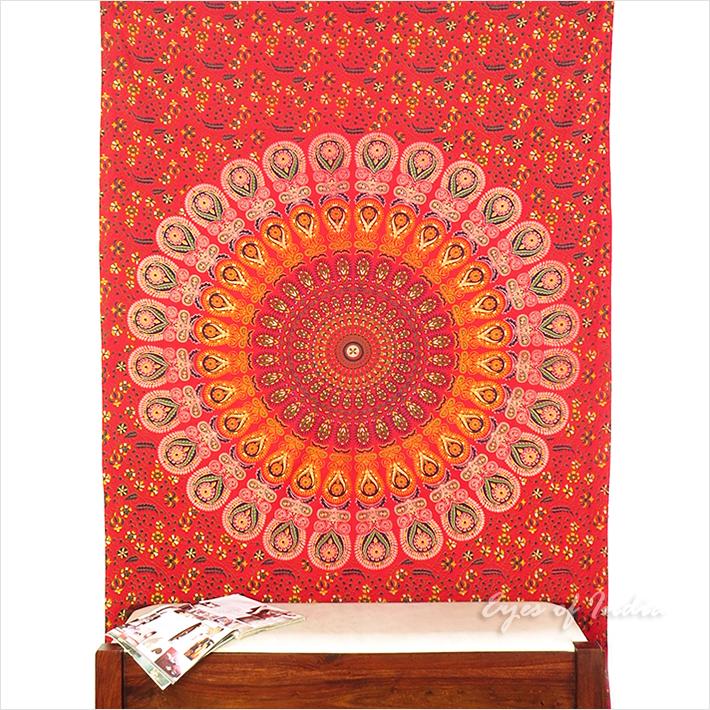 einzelbett rot elefant hippie mandala wandbehang wandkunst. Black Bedroom Furniture Sets. Home Design Ideas