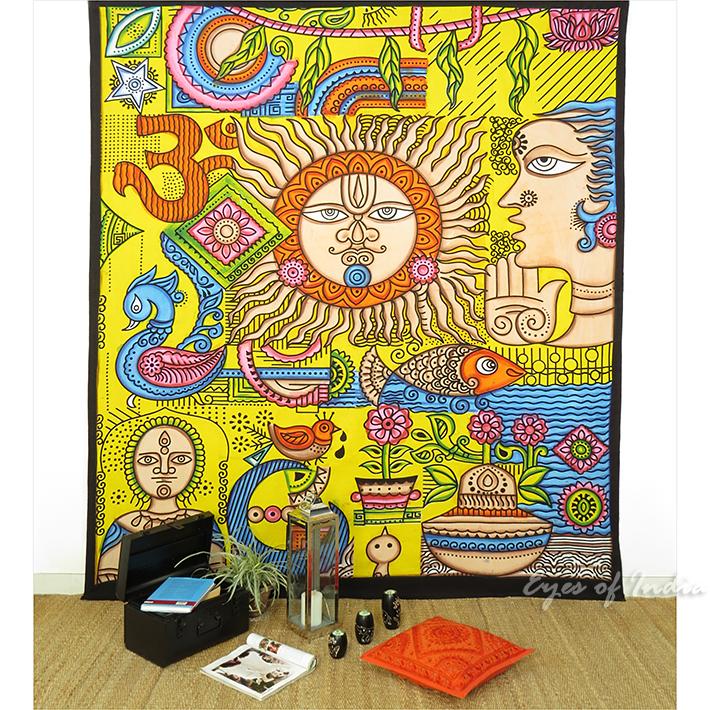k nigin gelb stammes indische mandala wandbehang wand. Black Bedroom Furniture Sets. Home Design Ideas