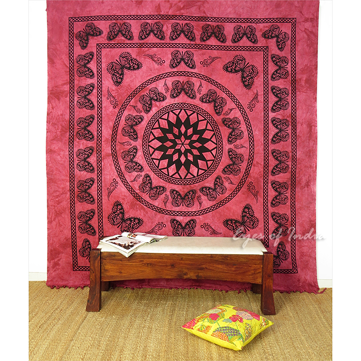 Bordeaux queen rouge hippie tapisserie mandala tenture for Decoration murale mandala