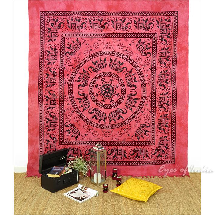 weinrot doppelbett rot elefanten mandala wandbehang wand. Black Bedroom Furniture Sets. Home Design Ideas