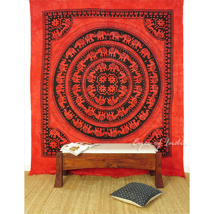 Queen Red Elephant Wall Hanging Tapestry Bedspread Coverlet Ethnic Throw Decor Ebay
