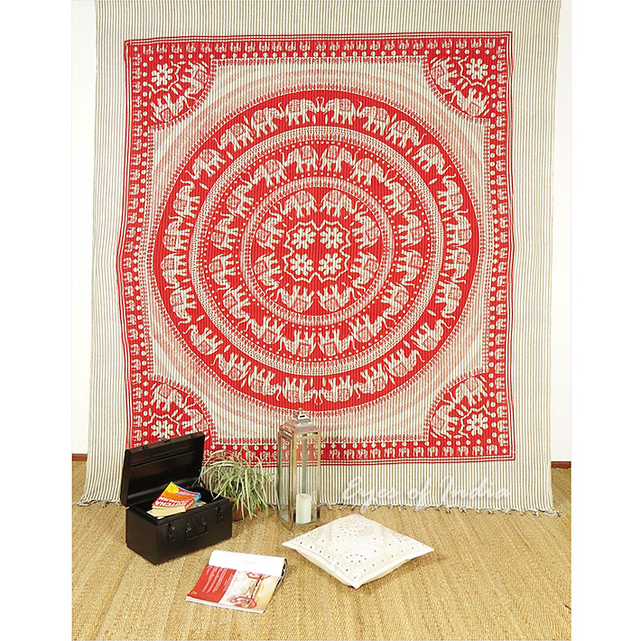 Queen Red Elephant Indian Mandala Tapestry Wall Hanging Picnic Bohemian Decor