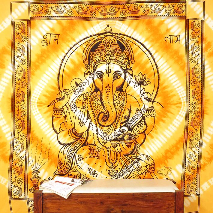 K 246 Nigin Orange Indisch Hippie Mandala Ganesha Wandteppich