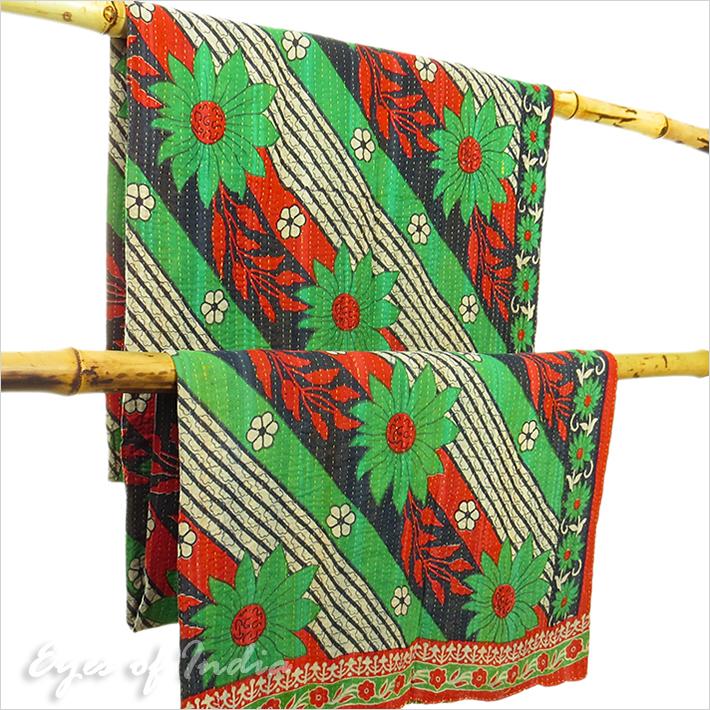 kantha quilt couverture couvre coverlet vintage bohemian. Black Bedroom Furniture Sets. Home Design Ideas